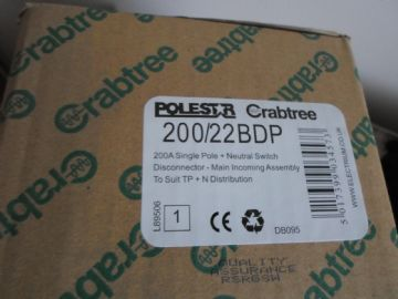 CRABTREE POLESTAR 200/22BDP 200 AMP SINGLE POLE + NEUTRAL SWITCH DISCONNECTOR
